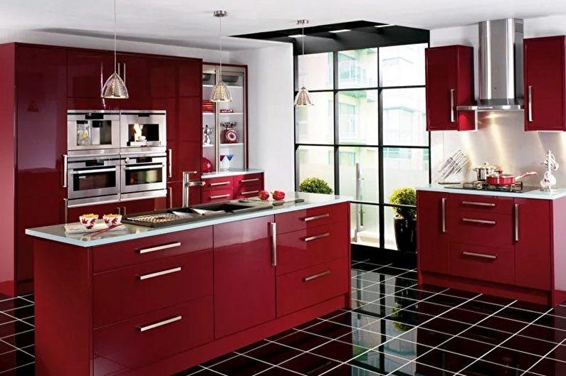 Дизайн красно-черной кухни - Отделка пола