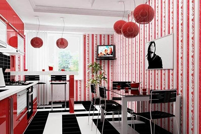 Дизайн красно-черной кухни - Отделка стен