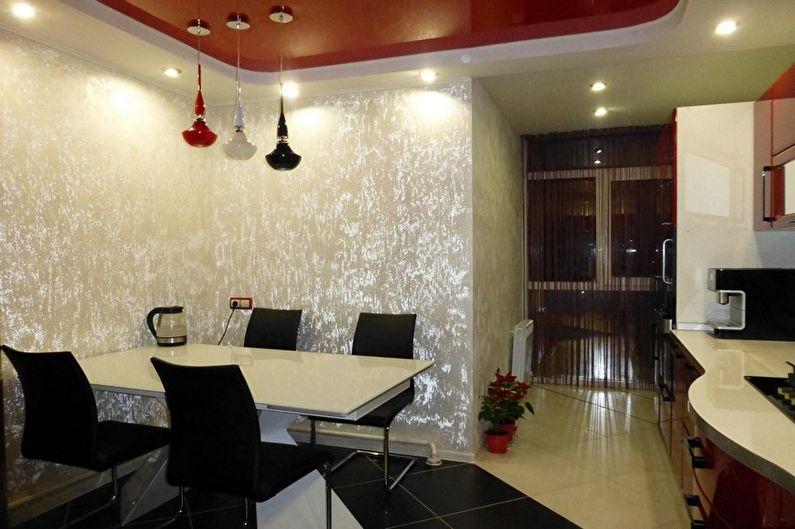 Дизайн красно-черной кухни - Отделка потолка