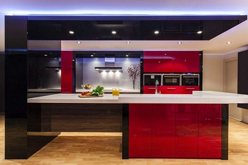 Дизайн красно-черной кухни - Мебель