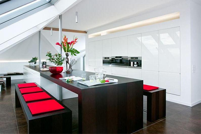 Дизайн красно-черной кухни - Декор и освещение