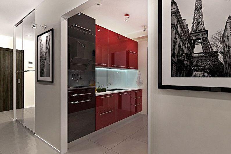 Маленькая красно-черная кухня - Дизайн интерьера