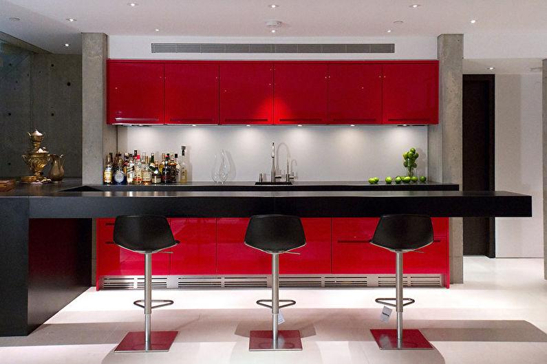 Красно-черная кухня - Дизайн интерьера фото