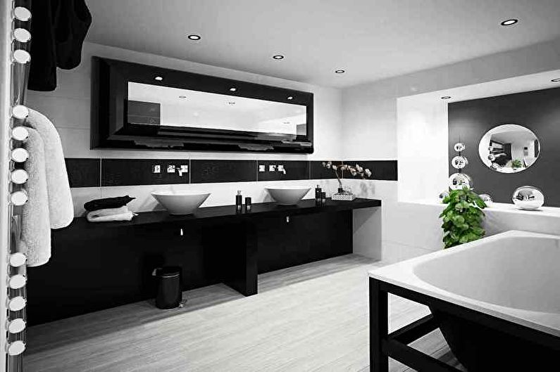 Черная ванная комната в стиле минимализм - Дизайн интерьера
