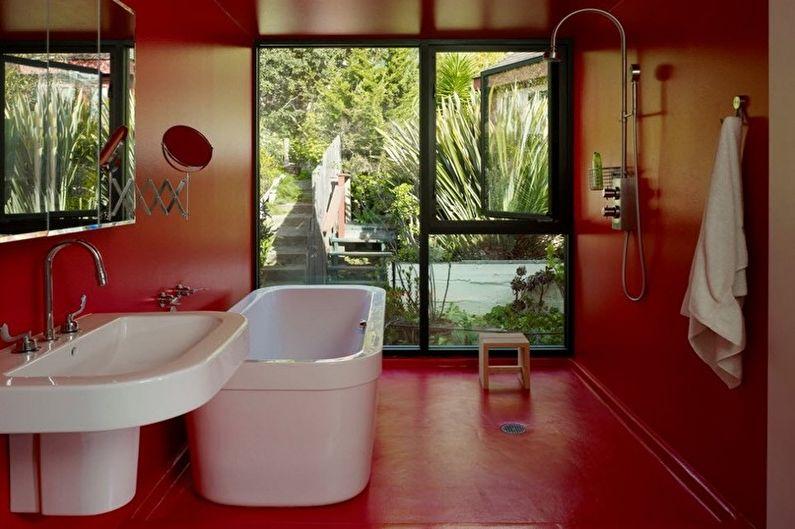Красная ванная комната в стиле минимализм - Дизайн интерьера