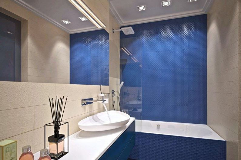 Синяя ванная комната в стиле минимализм - Дизайн интерьера