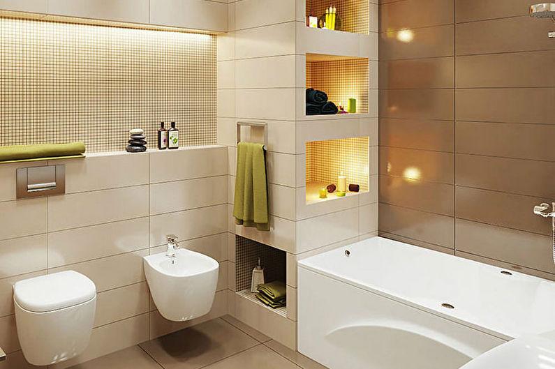 Коричневая ванная комната в стиле минимализм - Дизайн интерьера