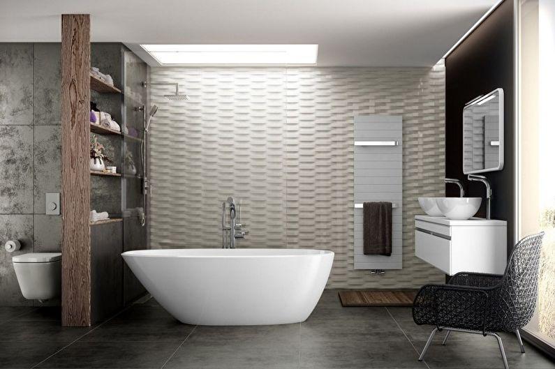 Дизайн ванной комнаты в стиле минимализм - Отделка стен