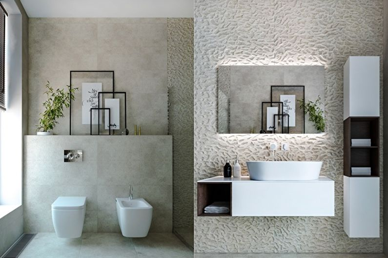 Дизайн ванной комнаты в стиле минимализм - Декор и текстиль