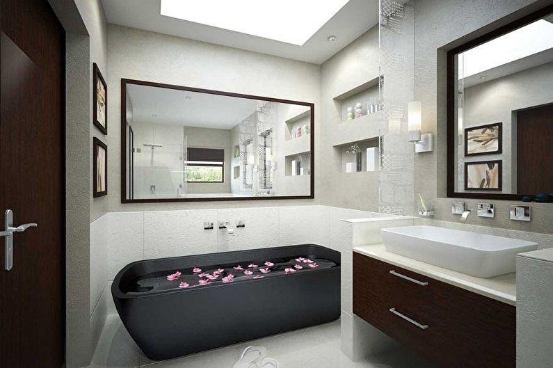 Дизайн интерьера ванной комнаты в стиле минимализм - фото
