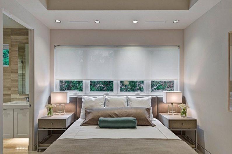 Бежевая спальня в стиле минимализм - Дизайн интерьера