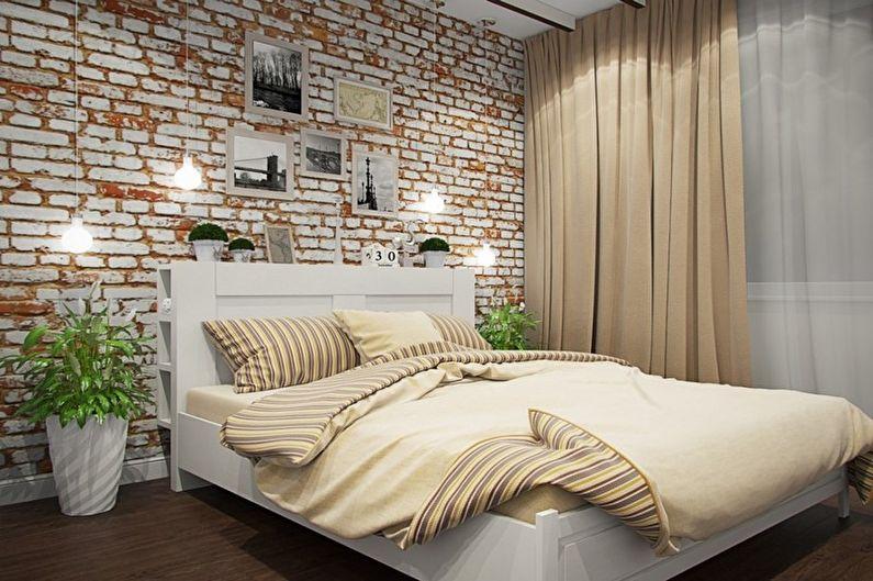 Бежевая спальня в стиле лофт - Дизайн интерьера
