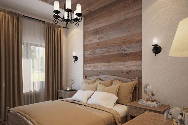 Бежевая спальня в эко-стиле - Дизайн интерьера