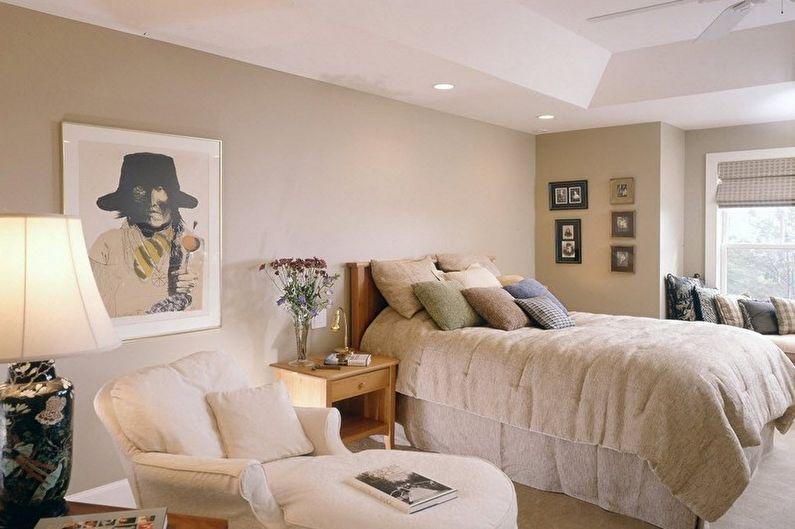 Дизайн бежевой спальни - Отделка стен