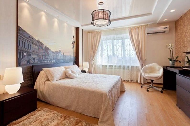 Дизайн бежевой спальни - Отделка потолка