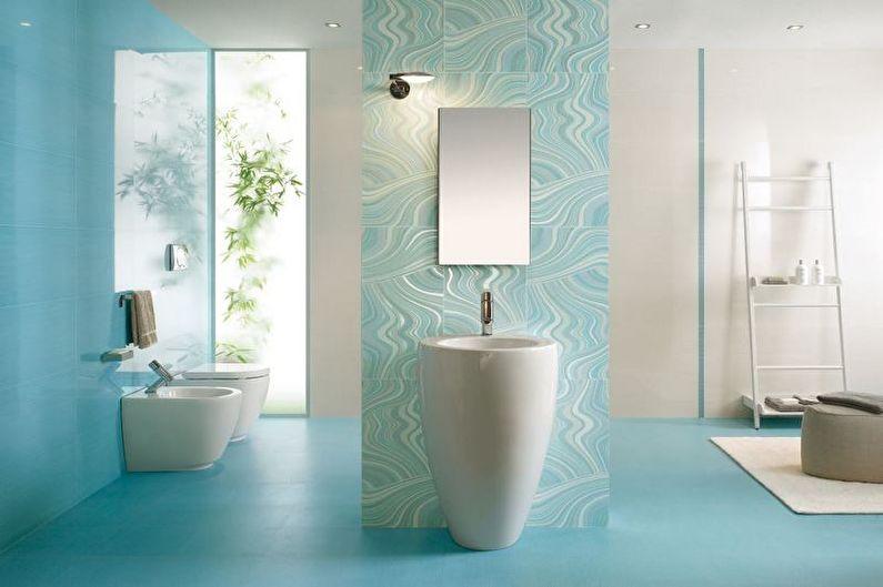 Бирюзовая ванная в стиле минимализм - Дизайн интерьера