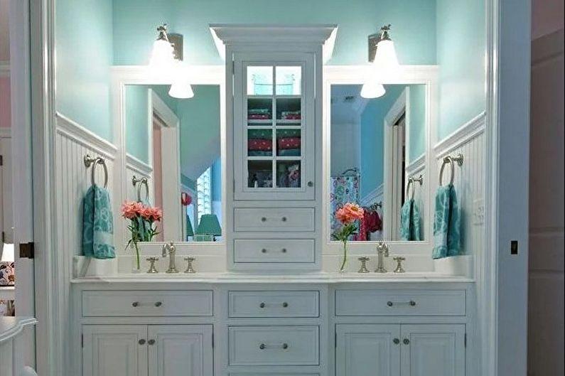 Бирюзовая ванная в стиле ретро - Дизайн интерьера