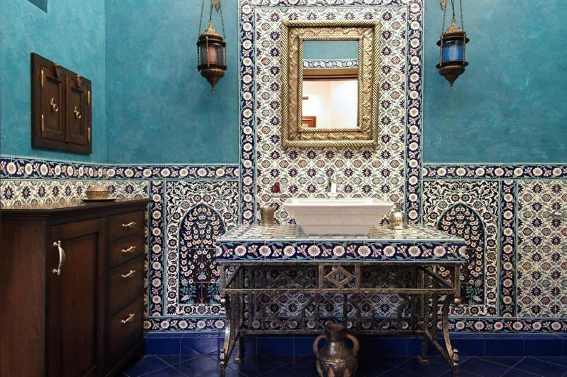 Бирюзовая ванная в восточном стиле - Дизайн интерьера