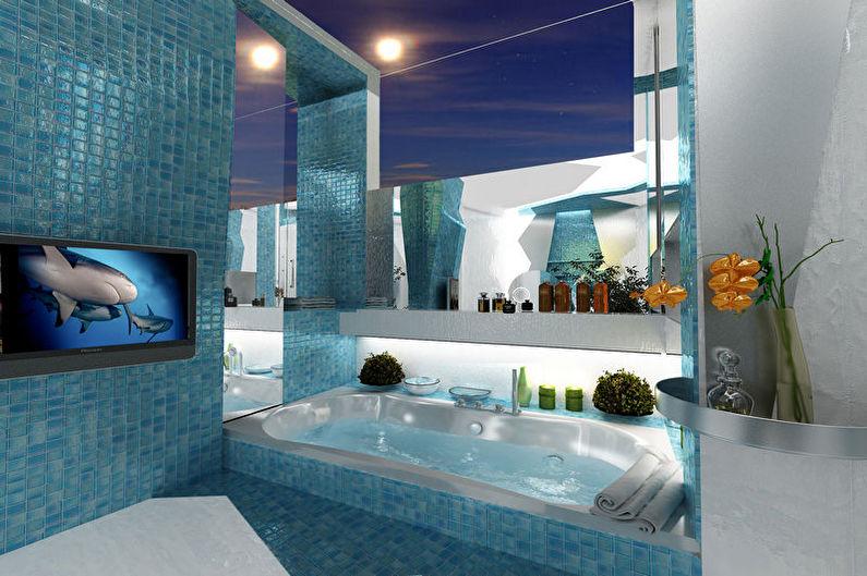 Бирюзовая ванная в морском стиле - Дизайн интерьера