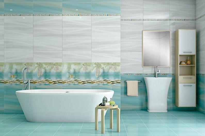 Дизайн бирюзовой ванной комнаты - Отделка пола