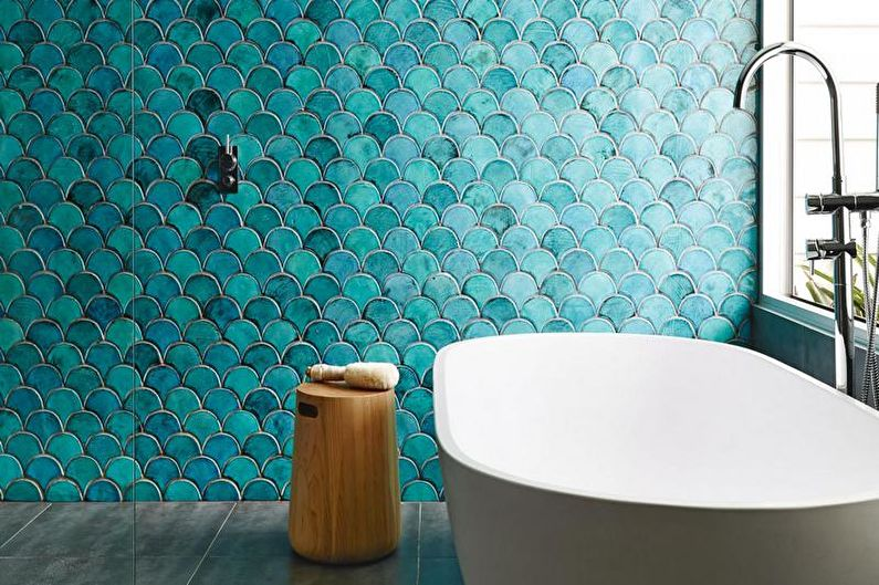 Дизайн бирюзовой ванной комнаты - Отделка стен