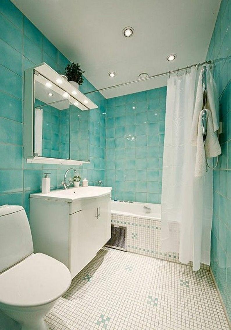 Дизайн бирюзовой ванной комнаты - Отделка потолка