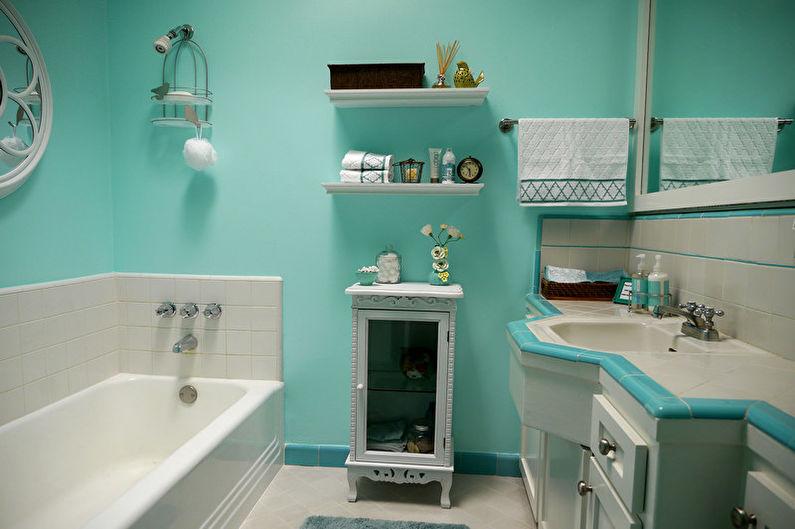 Дизайн бирюзовой ванной комнаты - Мебель и сантехника