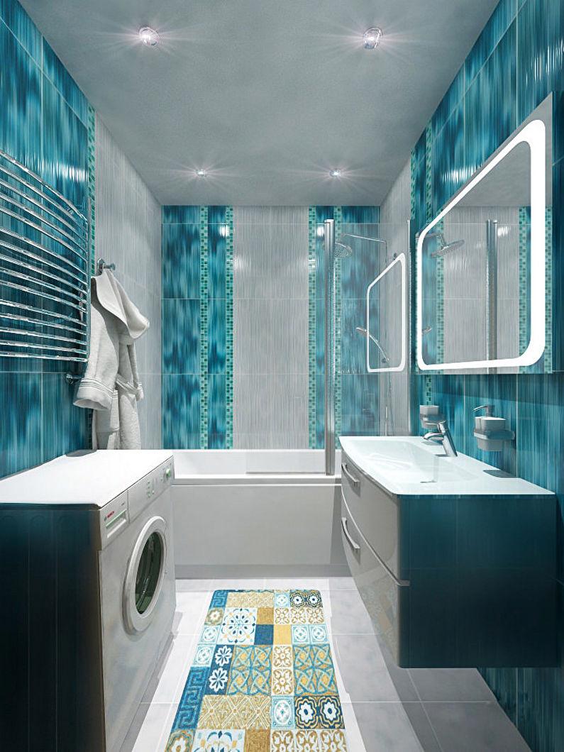 Маленькая бирюзовая ванная - Дизайн интерьера