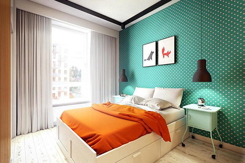 Бирюзовая спальня в современном стиле - Дизайн интерьера