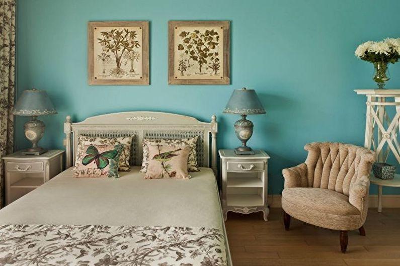 Бирюзовая спальня в стиле прованс - Дизайн интерьера