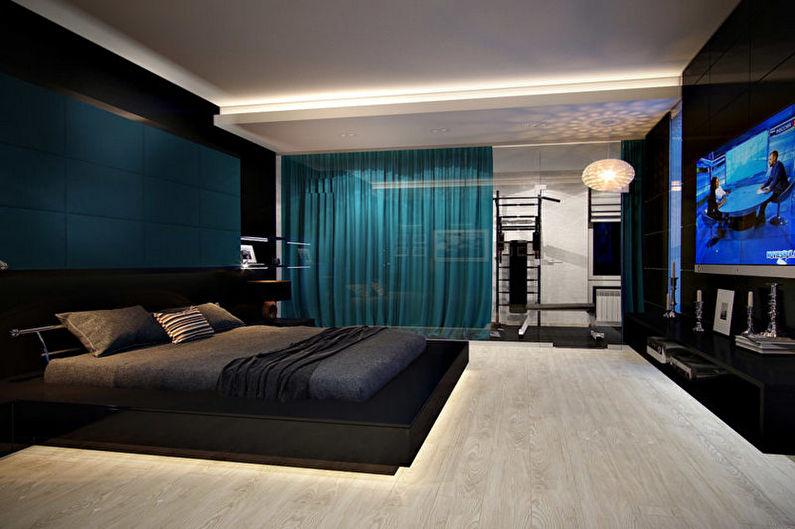 Бирюзовая спальня в стиле хай-тек - Дизайн интерьера