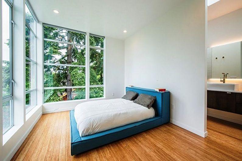 Бирюзовая спальня в стиле минимализм - Дизайн интерьера