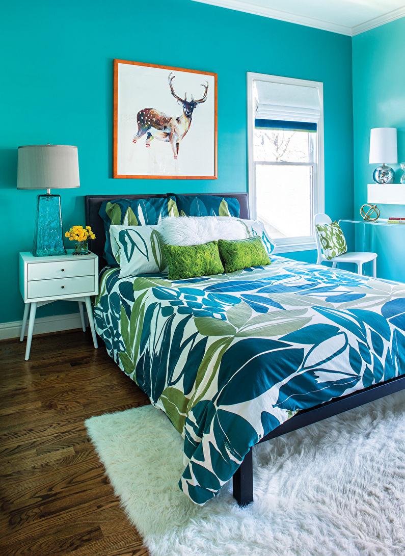 Дизайн бирюзовой спальни - Отделка пола