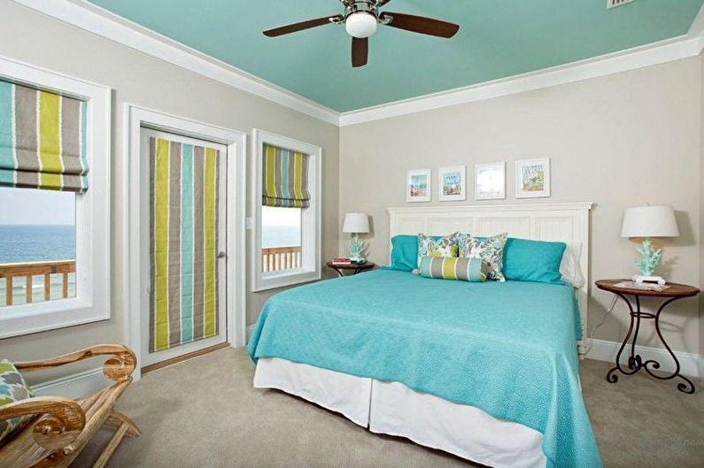 Дизайн бирюзовой спальни - Отделка стен