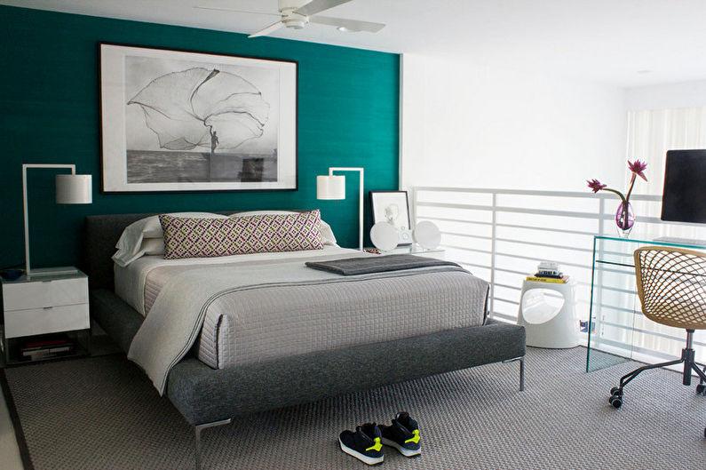 Бирюзовая спальня - дизайн интерьера фото