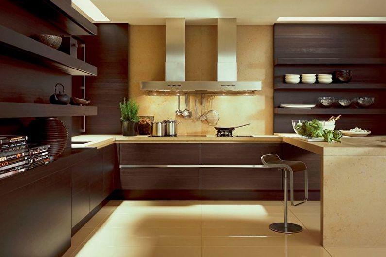Коричневая кухня: 80 фото-идей дизайна