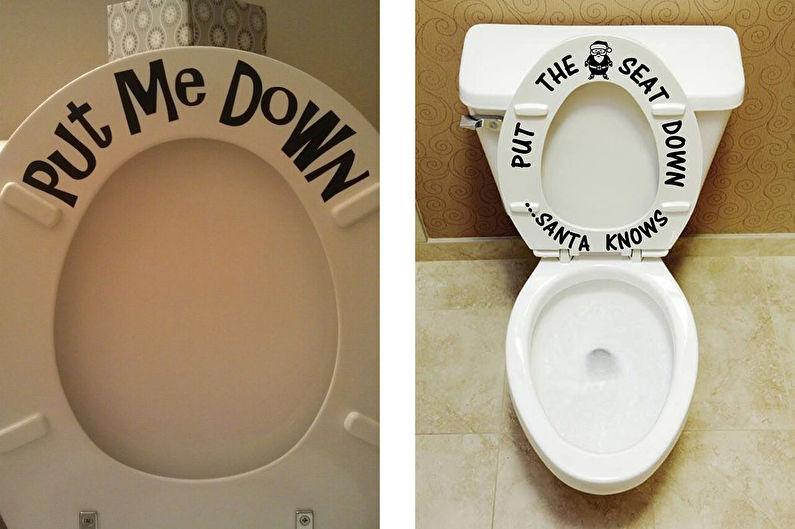 Аксессуары для ванной комнаты - Надписи на крышке унитаза