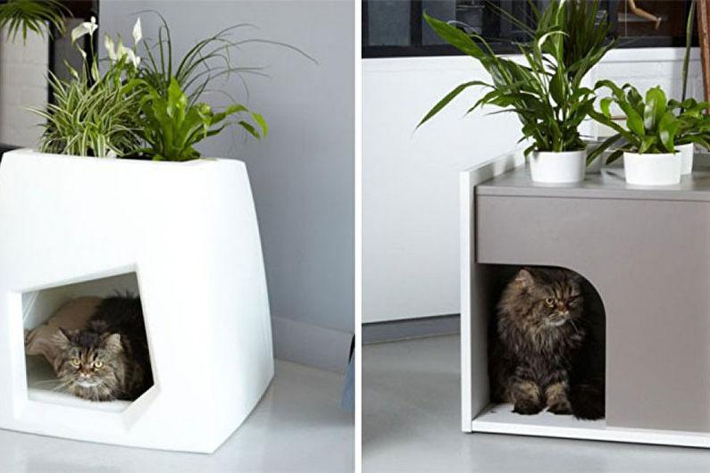 Домик для кошки, встроенный в мебель