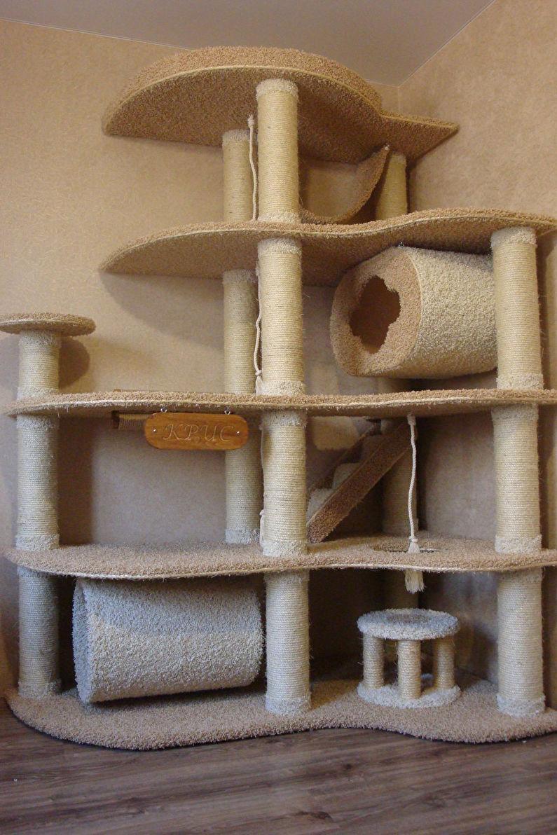 Домик из картона для кошки своими руками фото пошагово