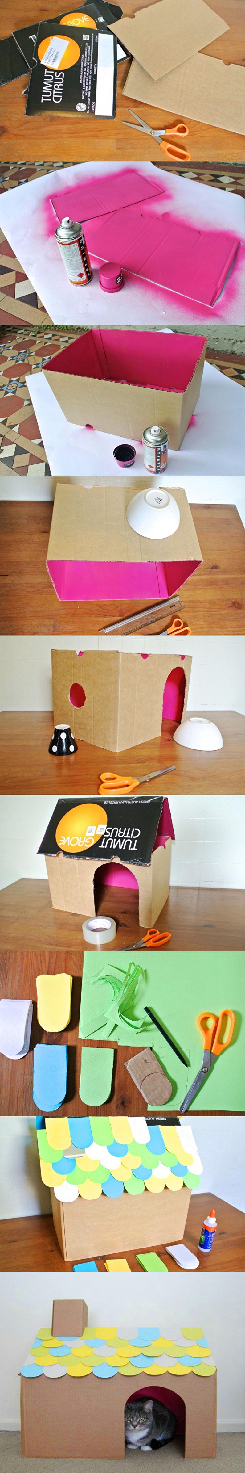 Домик для кошки своими руками - Простой картонный домик