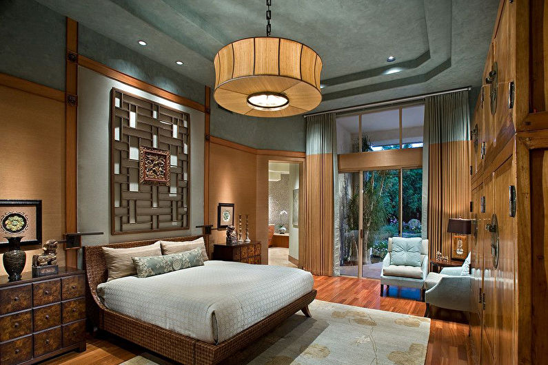 Подвесной потолок в спальне - фото