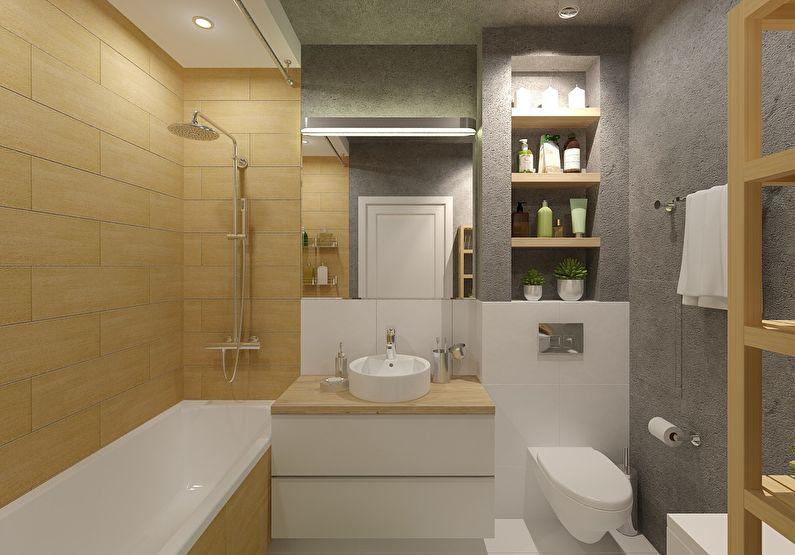 Ванная 4 кв.м. в стиле минимализм - Дизайн интерьера