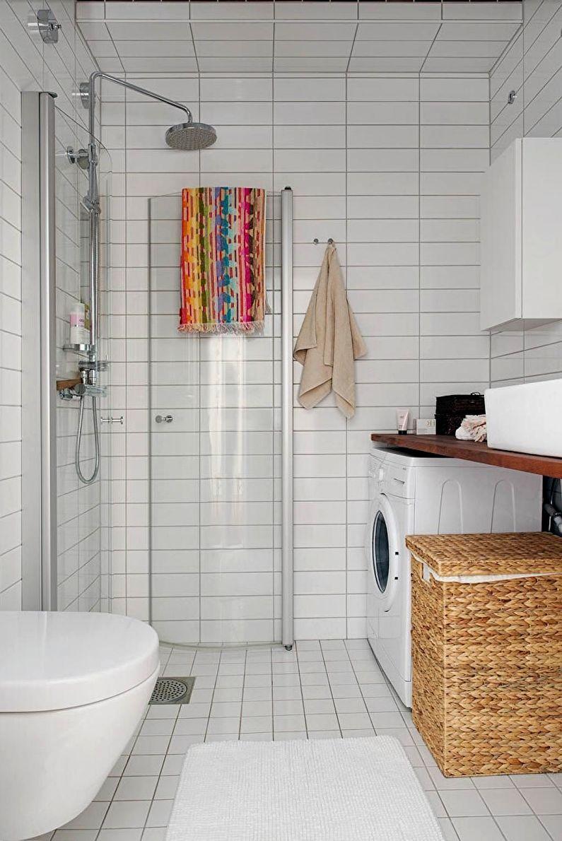 Дизайн интерьера ванной комнаты 4 кв.м. с душевой кабиной - фото