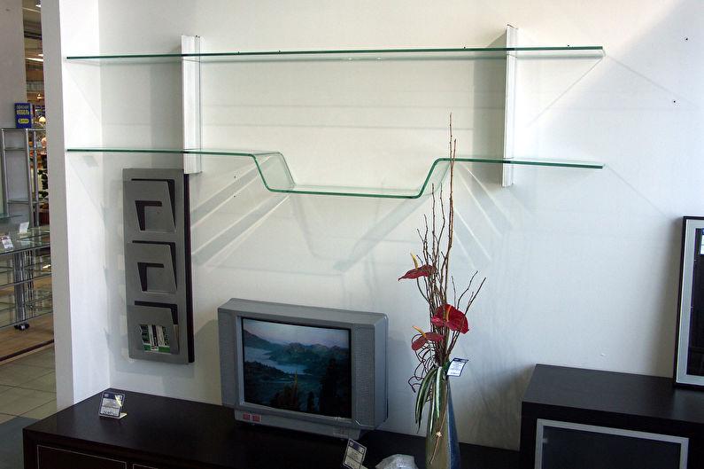 Настенные полки из стекла или зеркала