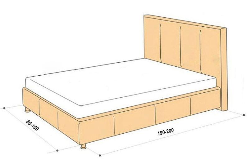 Стандартные размеры кроватей: односпальной, полуторной, двуспальной