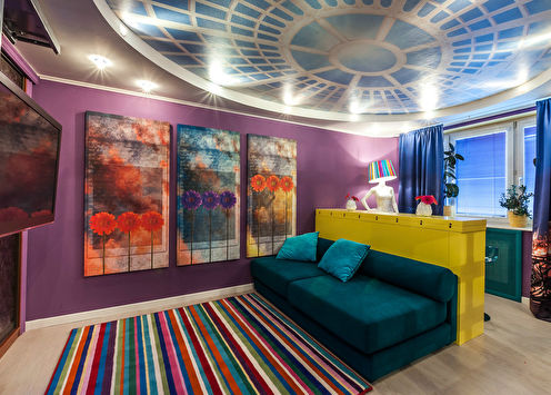 Дизайн гостиной «Яркий микс»