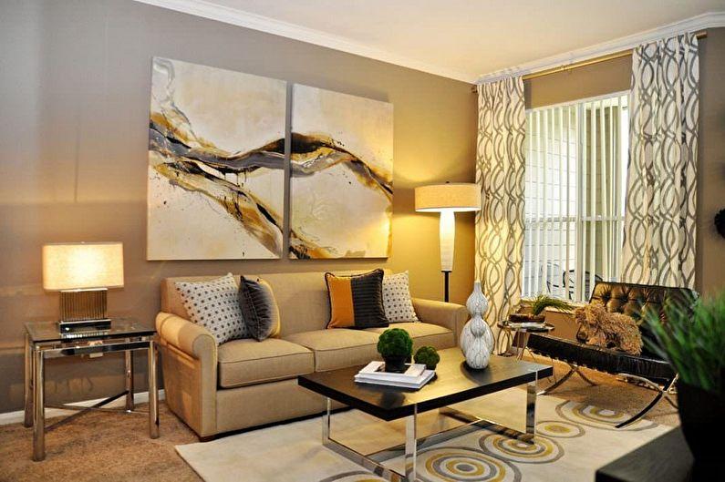 Модульные картины в интерьере гостиной
