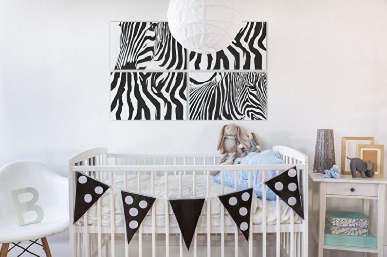 Модульные картины в интерьере детской комнаты