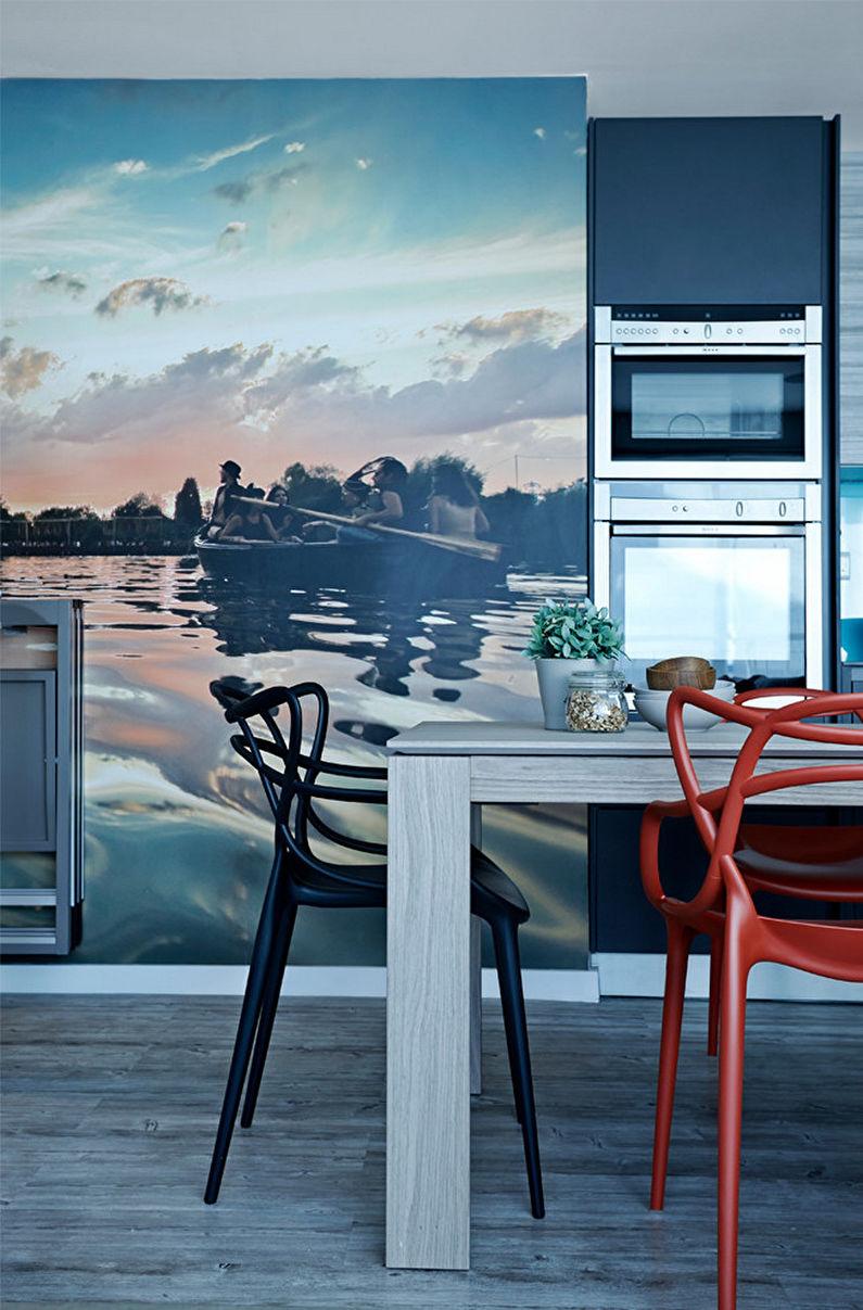 Фотообои в интерьере кухни - фото
