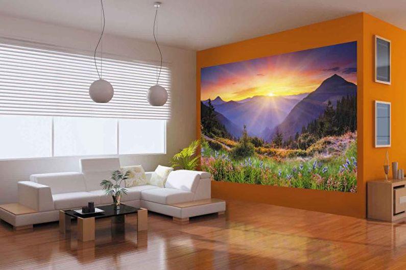 Фотообои в интерьере гостиной - фото